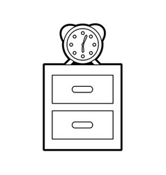 Nightstand with alarm clock isolated icon vector
