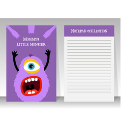 Notebook template with cartoon fluffy monster vector