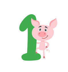 number one with cute cartoon pig isolated on white vector image