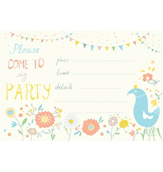 Party invitation with flower and bird cute design vector