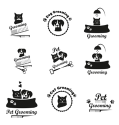 Pet grooming logo label bages black emblem vector