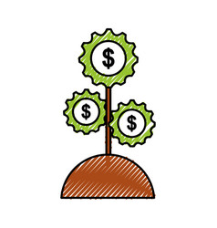 plant with gears money business financial icon vector image