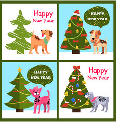 Playful cartoon dogs wishes happy new year in vector