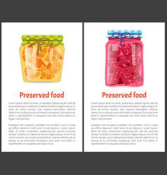 Preserved food poster sliced oranges raspberries vector