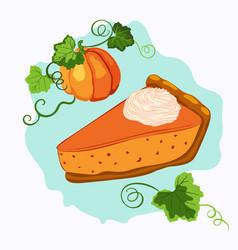 Pumpkin pie with cream and rape pumpkin vector