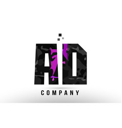 Purple black alphabet letter ad a d logo vector