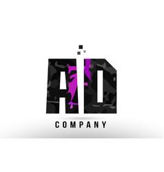 Purple black alphabet letter ad a d logo vector