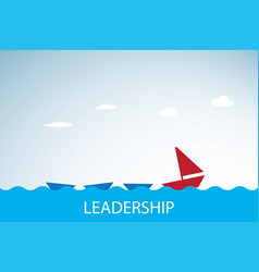 Red boat leads blue boats leadership concept vector