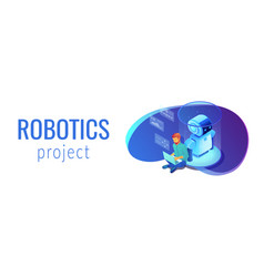 robot software isometric 3d banner header vector image