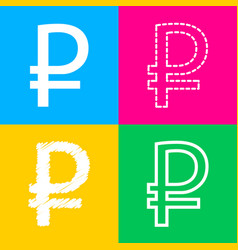 ruble sign four styles of icon on four color vector image