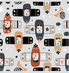Seamless childish pattern with tigers pilot on vector