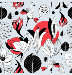seamless graphic pattern different flowers and vector image