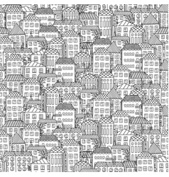 seamless small town landscape print vector image