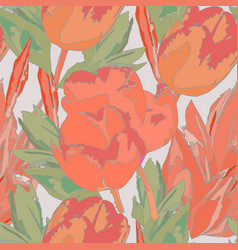 Seamless watercolor colored pattern with tulips vector