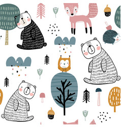 semless woodland pattern with cute bear hedgehog vector image
