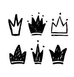 Set abstract silhouettes crowns hand drawn vector
