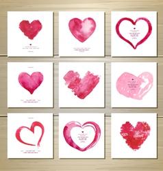 set artistic watercolor valentine love hearts vector image