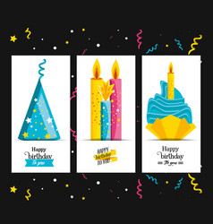 set birthday hat with candles and cupcake vector image