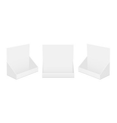 Set cardboard display boxes front side view vector