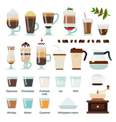 set coffee and ingredients icons flat vector image