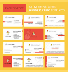 set of 12 snowman creative busienss card template vector image