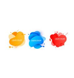 set of graphic liquid color elements vector image