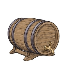 Side view of wooden barrel with tap resting on vector image