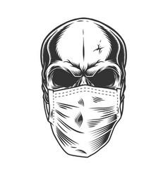 Skull in medical mask vector