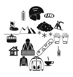 snowboarding icons set simple style vector image