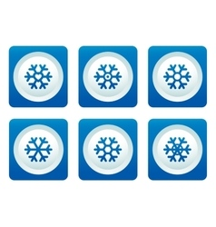 snowflake set on blue button vector image