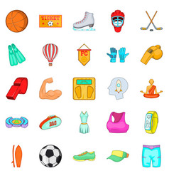 Street sports icons set cartoon style vector