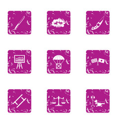 Survival icons set grunge style vector