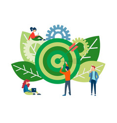 Teamwork to achieve common goals and success vector