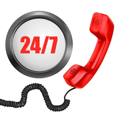 Telephone and 247 button 24 hours in day 7 days vector