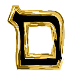 The golden letter mem from the hebrew alphabet vector