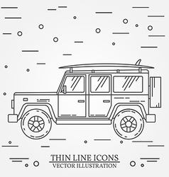 Travel car family camper with surf board thin line vector