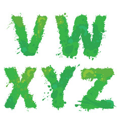 v w x y z handdrawn english alphabet vector image