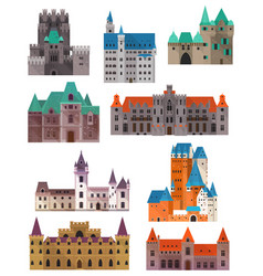 Vintage or retro castles or forts citadel and vector