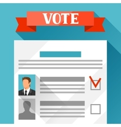 Voting ballot with selected candidate political vector