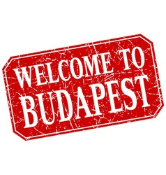 Welcome to Budapest red square grunge stamp vector