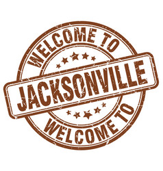 Welcome to jacksonville brown round vintage stamp vector