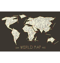 World map made from safety matches vector