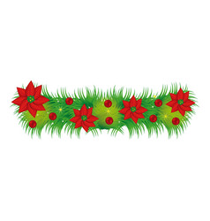 wreath with christmas flowers decorative vector image