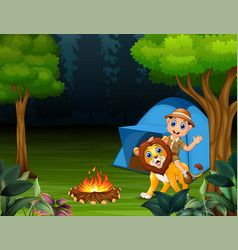 zookeeper boy and a lion in jungle at night vector image