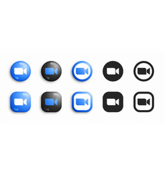Zoom modern 3d and flat icons set vector