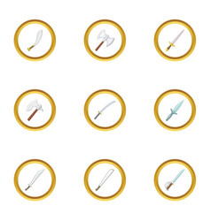 cold weapon icons set cartoon style vector image vector image
