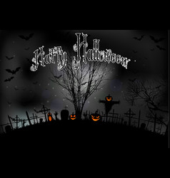 halloween night with tree pumpkins and bats vector image vector image