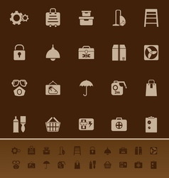 Home storage color icons on brown background vector image vector image