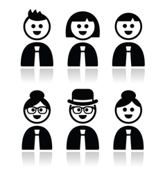 People in bussiness clothes tie icons set vector image vector image