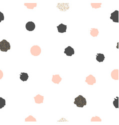 seamless pattern with dots of rose pink and black vector image